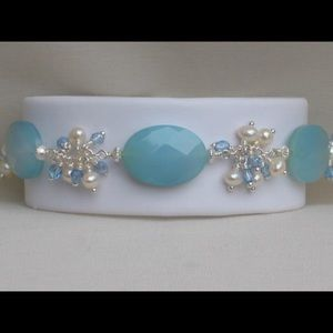 Handmade Blue agate and pearl bracelet